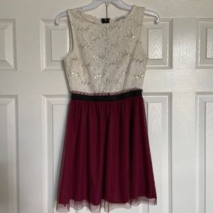 Lace and Maroon Spring Dress